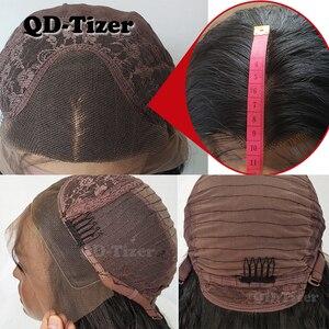 Image 4 - QD Tizer Silky Straight Haarkant Grijze Kleur Lijmloze Hittebestendige Synthetische Lace Front Pruik Voor Vrouwen