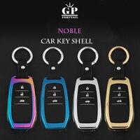 Miễn phí Vận Chuyển Kẽm hợp kim + Da Chain Car Key Bìa Trường Hợp Cho Toyota Camry Corolla Vương Miện RAV4 Highlander 2015 Auto phụ kiện
