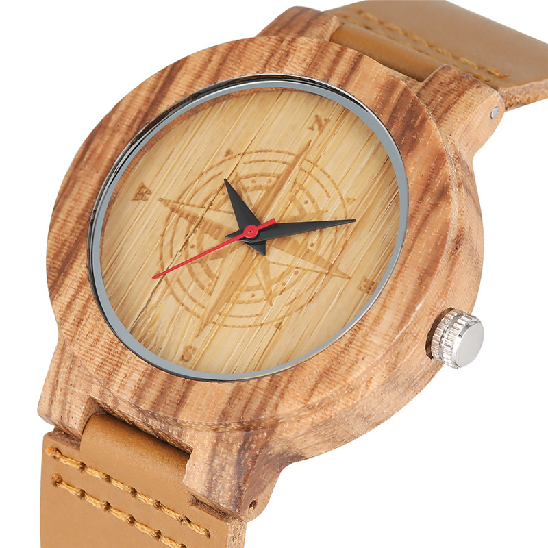 Classic Nature Quartz Watch Movement For Women Men Casual Lightweight Wooden Watches Genuine Leather Strap Bamboo Wristwatch