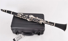 цена на Bb Bakelite Clarinet Musical instruments 17 Keys clarinete Nickel Plated keys klarnet with ABS case