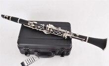 купить Bb Bakelite Clarinet Musical instruments 17 Keys clarinete Nickel Plated keys klarnet with ABS case по цене 11232.54 рублей
