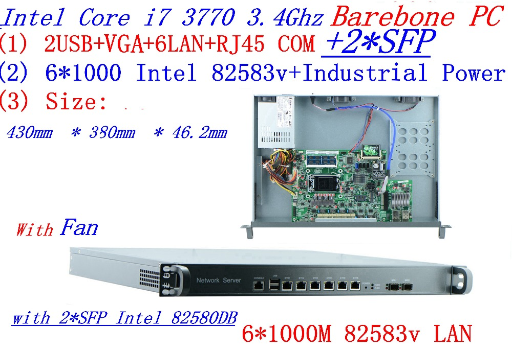 INTEL I7 3770 3.4Ghz 1U Rack Type Firewall Server With 6*1000M 82583v Gigabit LAN 2*SFP Support ROS/Router Mikrotik Barebone PC
