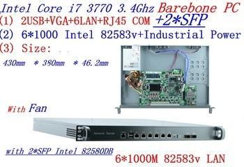 INTEL I7 3770 3.4Ghz 1U rack type firewall server with 6*1000M 82583v Gigabit LAN 2*SFP Support ROS/Router Mikrotik Barebone PC