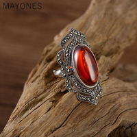 Retro 925 Sterling Silver Inlay Red Garnet Big Oval Rings For Women Vintage Punk Style Handmade Bijoux Indian Jewelry