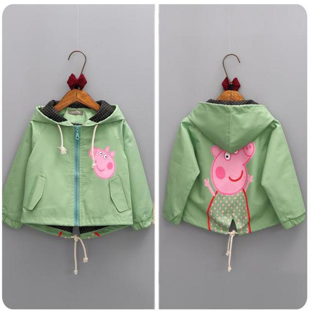 Girls Autumn Fashion Cartoon Pig Printed Jackets Kids Clothes Kids Jacket Girls Outerwear Children Jackets
