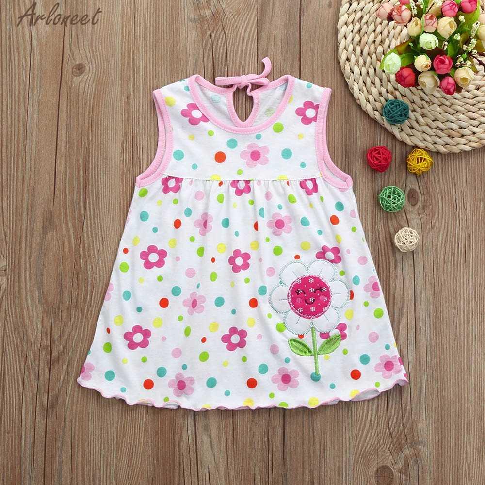 Arloneet 2018 Новый малышей милый ребенок цветок хлопка в горошек для детей футболки в полоску платье жилет Помет Девушка Мода Mar20 W20D30