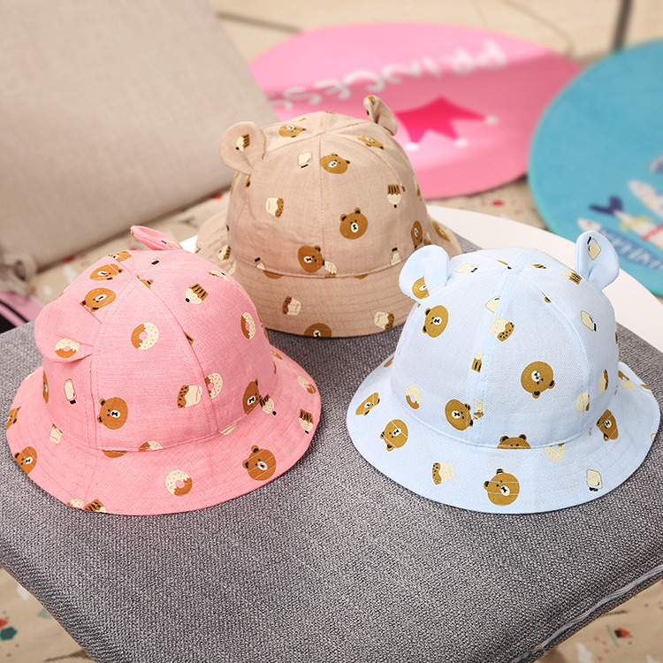 44-48CM round Cute Rabbit Ear bear print Bucket Hat Child Striped Fisherman Caps Spring Summer Outdoors Sun Protective Beach Hat