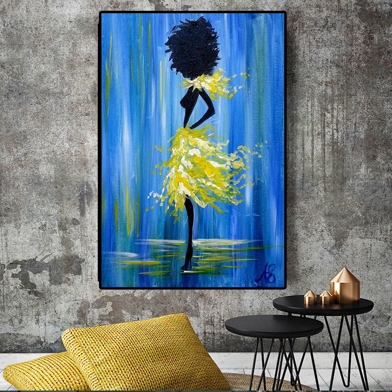 On Canvas Oil-Painting Wall-Art-Picture Prints Black African Nude Woman Posters Figure