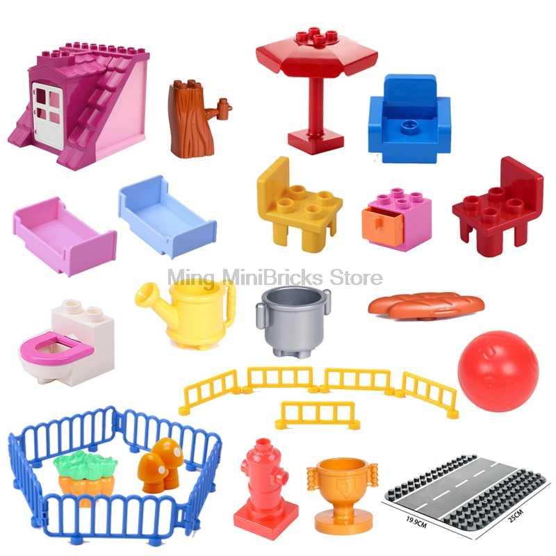 Legoing duplos duże cząstki części życie kreatywne elementy dom rodzinny stół fizyczne garnki sofa seria DIY Legoings klocki