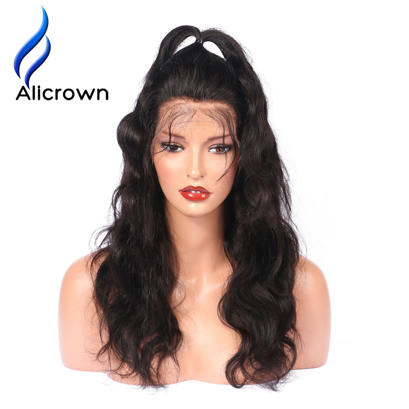 ALICROWN Pre Plucked Body Wave 4*4 Silk Base Full Lace Human Hair Wigs With Baby Hair Brazilian Remy Hair Lace Wigs for Women