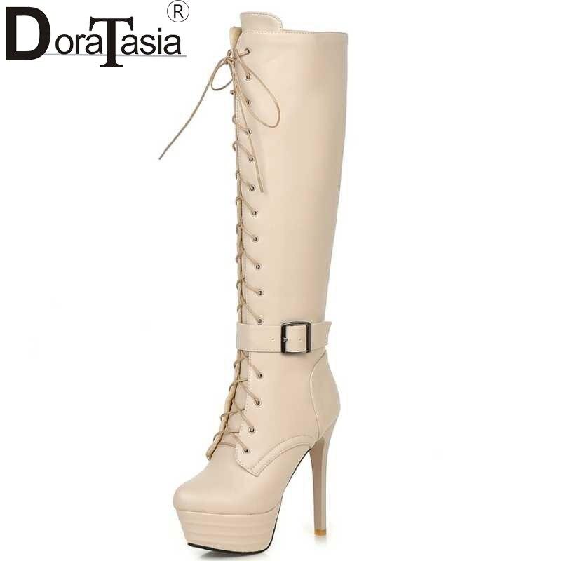 Большие размеры 34–45 женские сапоги по колено байкерские сапоги на молнии обувь на платформе на очень высоком каблуке на шнуровке с ремешком на пряжке зимние ботинки
