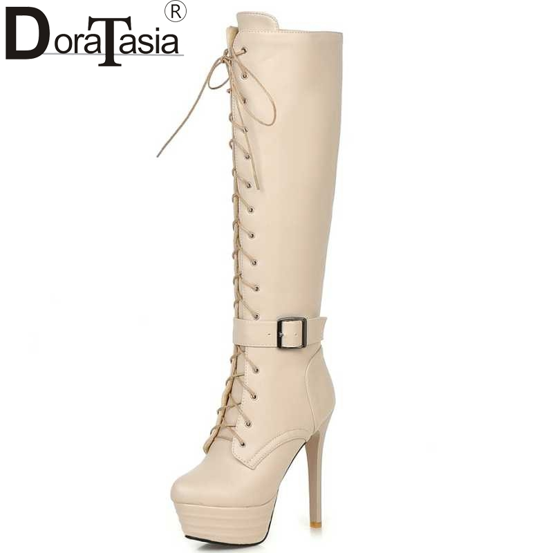 Big Size 34-45 Knee High Women Boots Zipper Motorcycle Boots Super High Heels Buckle Strap Cross Tie Platform Shoes Winter Boots doratasia big size 34 43 women half knee high boots vintage flat heels warm winter fur shoes round toe platform snow boots