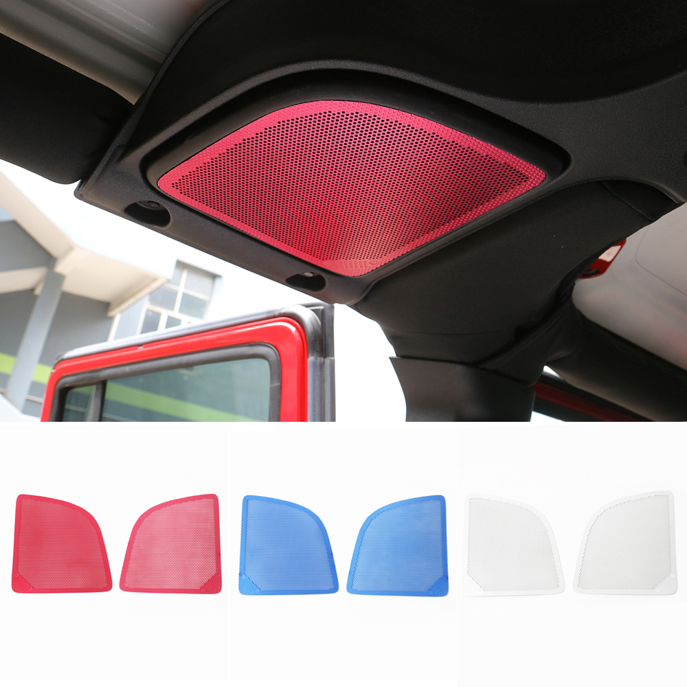 2pcs Red Silver Blue Aluminium font b Car b font Roof Speaker Decoration Mesh Cover Trim