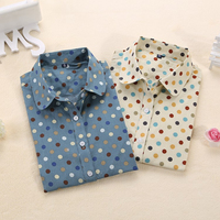 Dioufond Cotton Polka Dot Blouse Small Dots Long Sleeve Women Shirts Colorful Polka Dot Shirt Women Blouse Shirt Ladies Tops