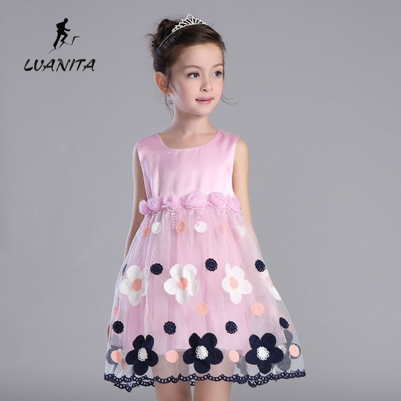 summer girls clothes pink flower girl dance dress, children kids dress baby kid one piece  -  LVANITA Store store
