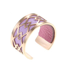 Yoiumit Open Rose Gold Ring For Women Interchangeable Leather Hollow Ring Elegant Bijoux Femme Finger Ring High Polished Jewelry(China)