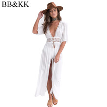 2018 Women Chiffon Blouse white solid Kimono Beach lace up Cardigan tops Cover Up Wrap Sun Shirt Long Blouse shirt blusas Rated(China)