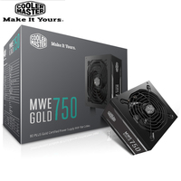 Cooler Master PC PSU Computer Power Supply Rated 750W 750 Watt 12cm Fan 12V ATX PC Power Supply GOLD 80PLUS For Game Office