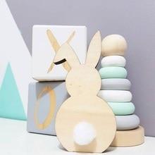 Натуральный скандинавский стиль деревянный кролик украшения детская комната украшение дерево ремесло Дети Безопасные игрушки подарки реквизит для фотосессии