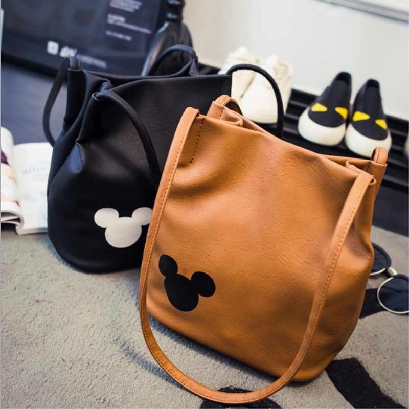 e4ce5d8f8b5c Women famous brand Mickey handbag PU Leather Organizer Small Cute Bucket Bag  Messenger bags Women Feminina