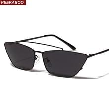Peekaboo metal las gafas de sol del ojo de gato verde 2019 marrón negro  cuadrado gafas de sol para mujeres damas regalo verano u. 87fa3621079f