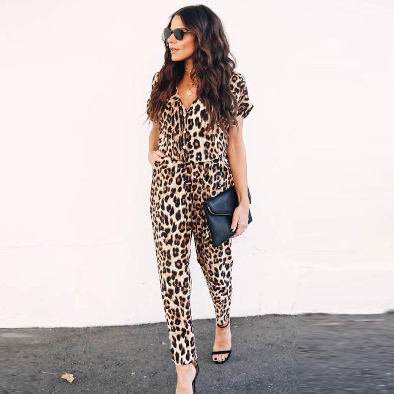 Rompers Womens   Jumpsuit   2019 Spring New Women's Mono Mujer Largo Casual Loose Leopard   Jumpsuit   For Women