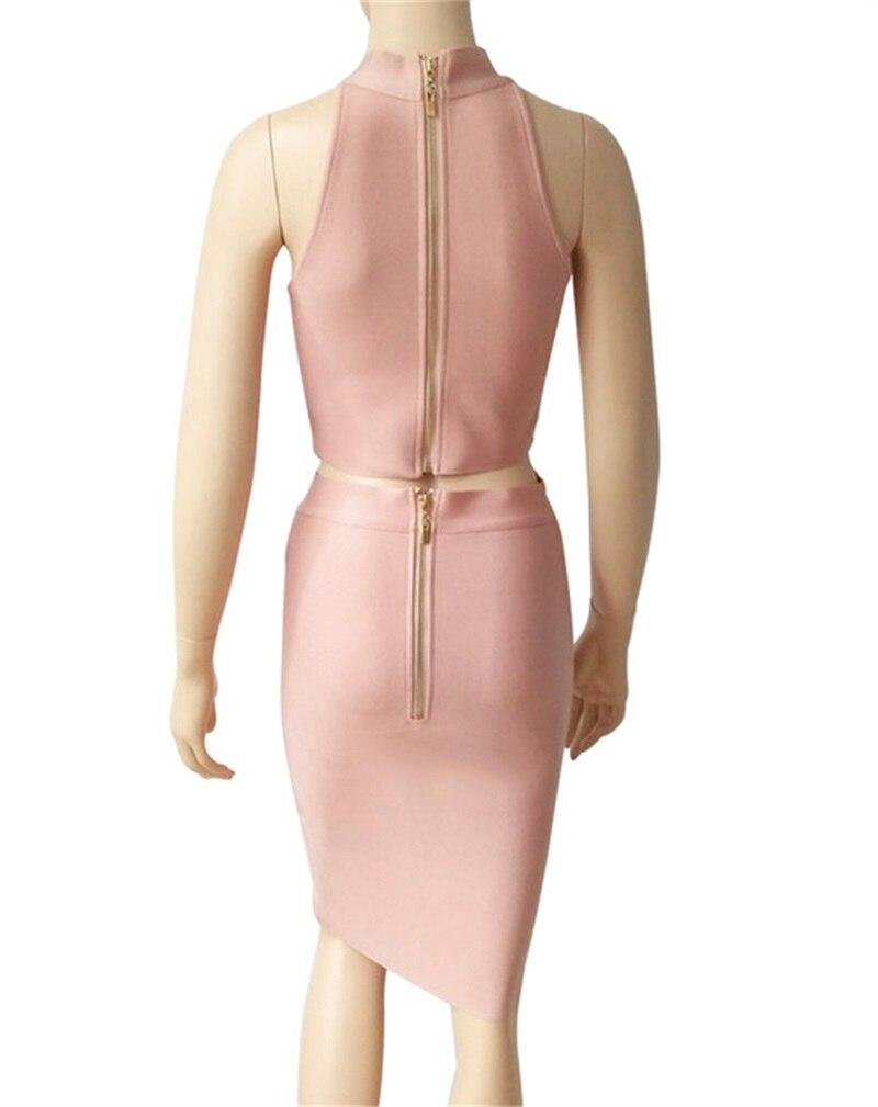 HTB1.kBzKrGYBuNjy0Foq6AiBFXam - 2018 Sexy Women Clothing Club Party 2 Piece Sets Fashion Bandage Dress Strapless Short Crop Top Patchwork Knee-Length Skirts