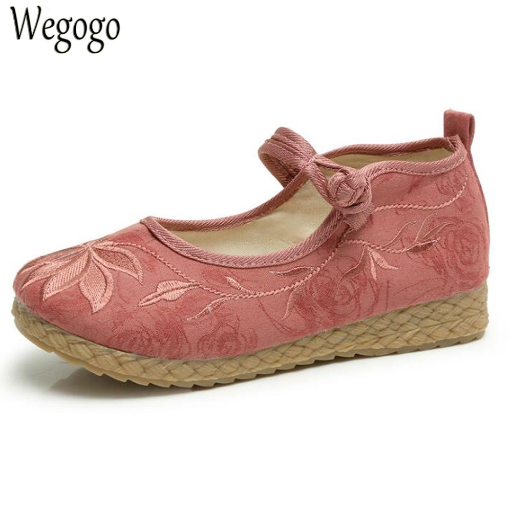 Wegogo Women Shoes Vintage Boho Cotton Linen Canvas Cloth Shoes National Soft Woven Round Toe Flat Ballet Embroidered vintage embroidery women flats chinese floral canvas embroidered shoes national old beijing cloth single dance soft flats