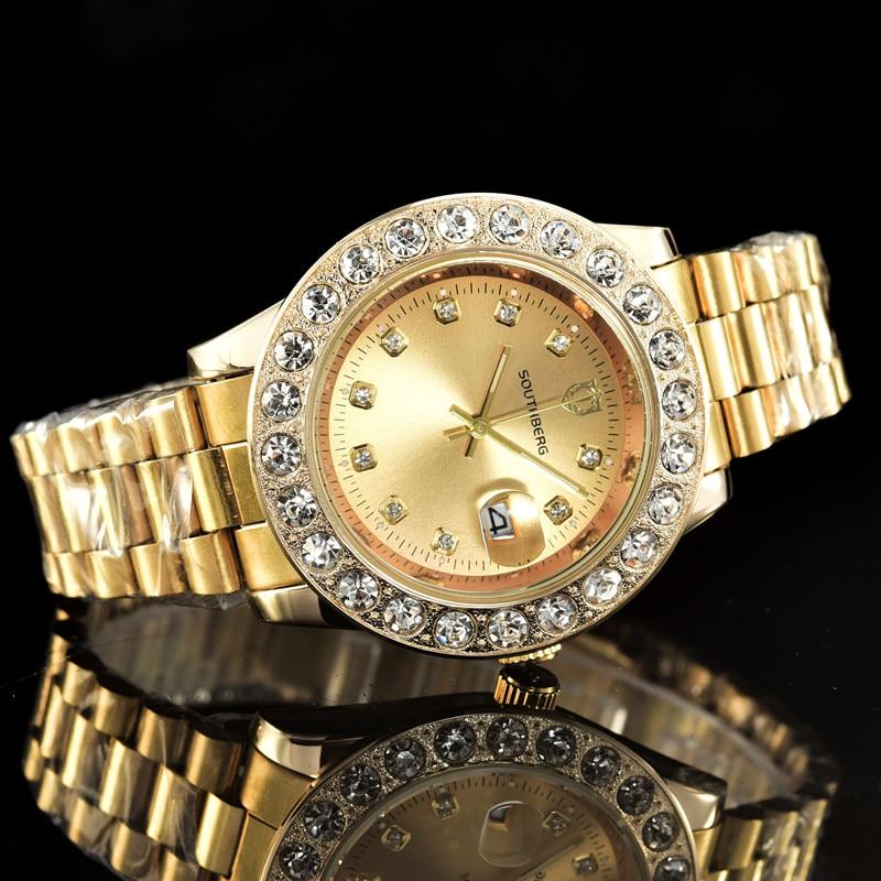 SOUTHBERG Gold Watch Men GMT Rotatable Bezel Sapphire Glass Stainless steel Band Sport Quartz WristWatch reloj relogio 44MM