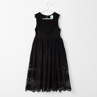 5T to 14 years kids & teenager girl solid white black sleeveless lace princess party long dresses child V neck eyelet maxi dress