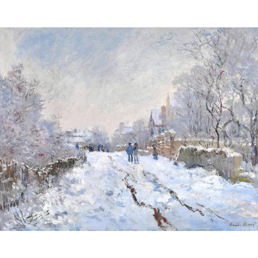 Hand Painted Oil paintings Claude Monet Canvas art Snow Scene at Argenteuil High quality home decorHand Painted Oil paintings Claude Monet Canvas art Snow Scene at Argenteuil High quality home decor