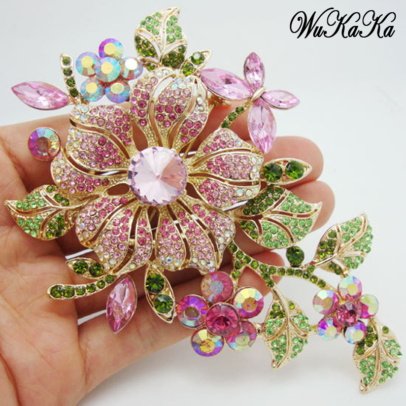 Big New Elegant Pink Crystal Flower Brooch Rhinestone Pin Romantic Wedding Bride Bridesmaid Rhinestone Brooches and Pins Jewelry цена
