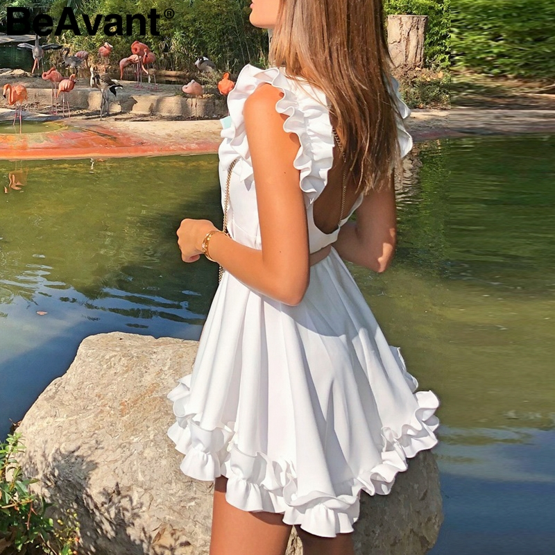 BeAvant Backless Ruffle Women White Dress Casual Vestidos Elegant Pleated Summer Dress 2019 High Waist Sexy Short Party Dresses