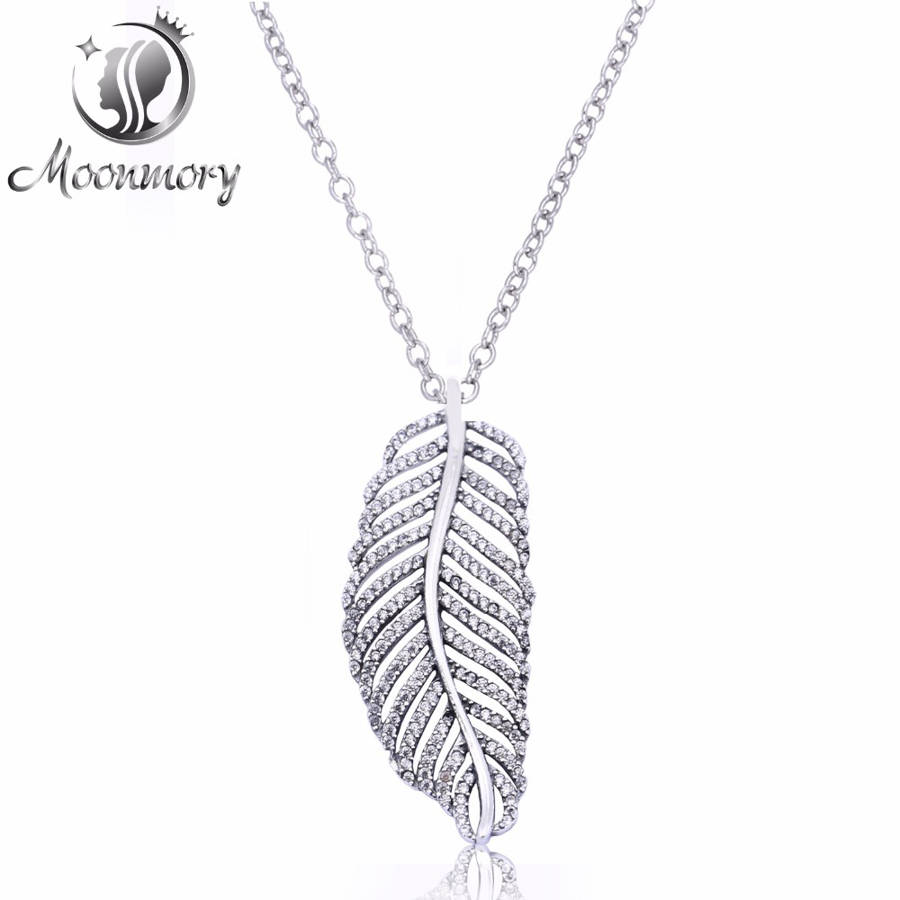 European Popular Jewelry Authentic 925 Sterling Silver Light As A Feather With Clear CZ Pendant Necklace For Women Top Quality roxy light as a feather