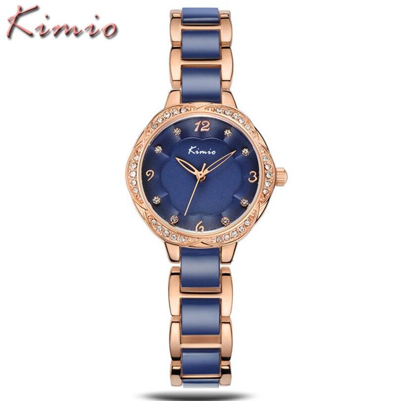 KIMIO 2016 Ladies Watches Top Brand Luxury Diamonds Women Dress Ceramic Bracelet Quartz Watch Relogio Feminino