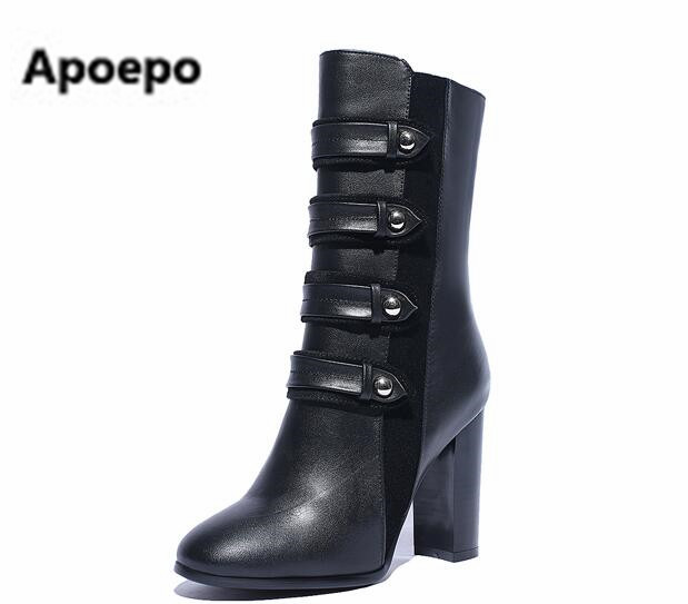 Apoepo brand 2017 winter women shoes fashion buckle zipper mid-calf boots black solid square toe pumps square heel high heels 2018 new arrival brand summer boots pu square heel women boots mid calf zipper fashion hollow peep toe elegant crystal shoes l61