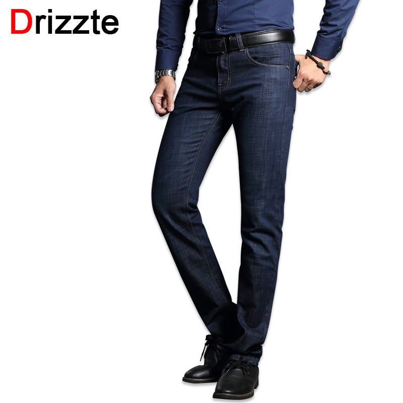 Drizzte Men's Jeans Stretch Blue Denim Business Stragiht Silm Fit Jeans Size 30 32 34 35 36 38 Pants Jean for Men drizzte men s jeans classic stretch blue denim business dress straight slim jeans size 34 35 36 38 pants trousers jean for men