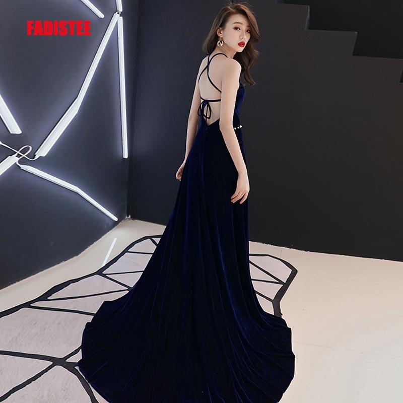 FADISTEE New arrival party dress evening dress Vestido de Festa sexy sequins velour A line belt