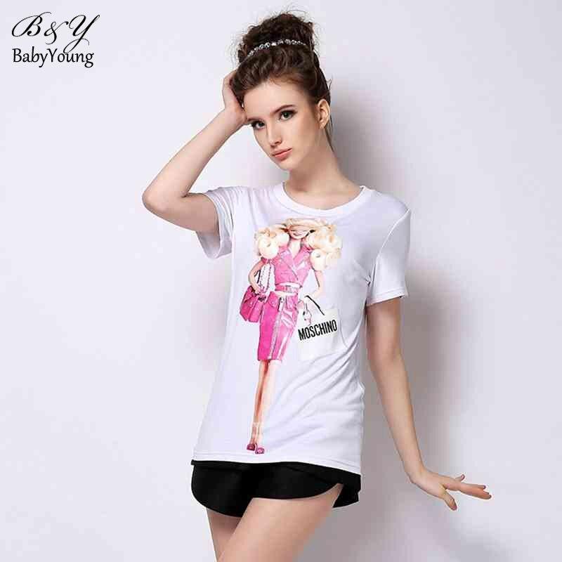 2016 summer women tops fashion slim t shirt cartoon barbie print cotton long t shirt femme tee. Black Bedroom Furniture Sets. Home Design Ideas