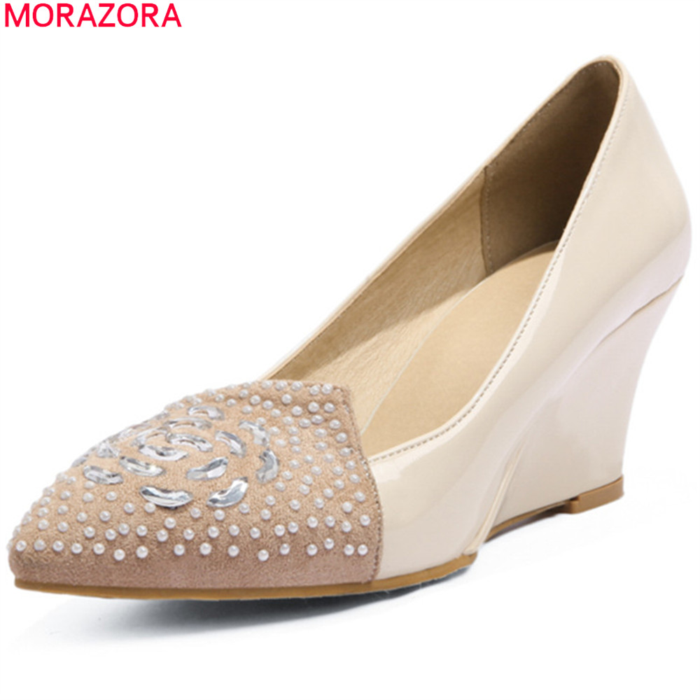 MORAZORA black pink fashion spring autumn shoes woman pumps pointed toe shallow wedges shoes crystal women high heels shoes xiaying smile woman pumps shoes women spring autumn wedges heels british style classics round toe lace up thick sole women shoes
