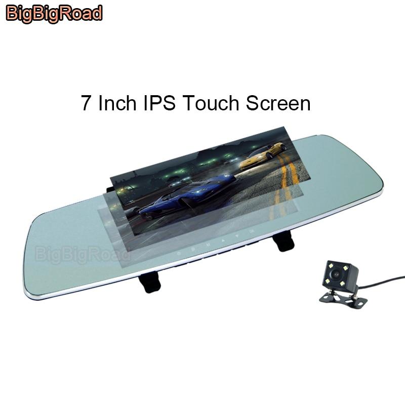 BigBigRoad For seat leon 2 fr ibiza toledo mii arona ateca ibl alhambra altea exeo Car DVR 7 Inch Touch Screen Rear View Mirror