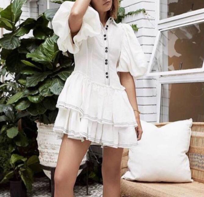 Top Quality Celebrity Summer Dress Sexy Ruffles Women Puff Sleeve Mini Night CLub Bodycon Party Dresses