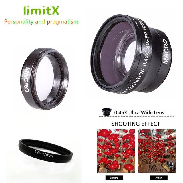 37 มม. 0.45X Super เลนส์มุมกว้าง/มาโครสำหรับ Panasonic Lumix DMC LX7 LX7 ดิจิตอลกล้อง