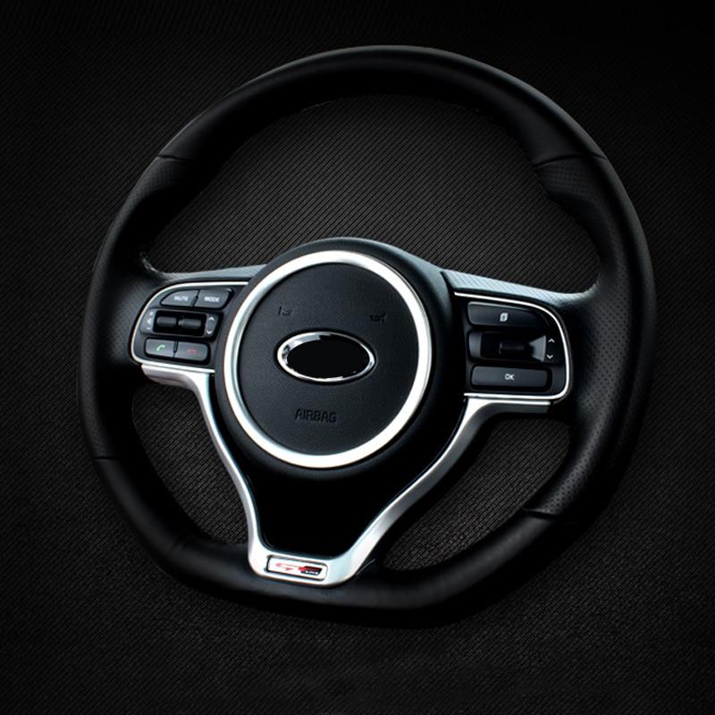 Estilo do carro volante círculo decorativo guarnição capa interior molduras para kia sportage 4 2016 2017 2018 2019 acessórios