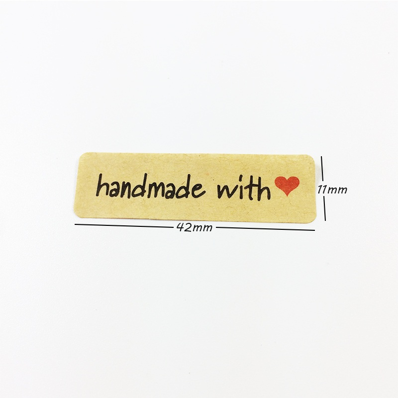 """Купить с кэшбэком 100pcs/lot Kraft Paper Seal Label Sticker """"Hand Made With Heart"""" For Handmade Products Package Decoration DIY Cake Gift Label"""