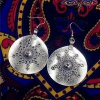 Bollywood In Indien Runde Übertreibung Big Ohrringe Handgemacht DIY Antike Silber Schmuck Jemen Ägypten Kasachstan Thailand Nepal