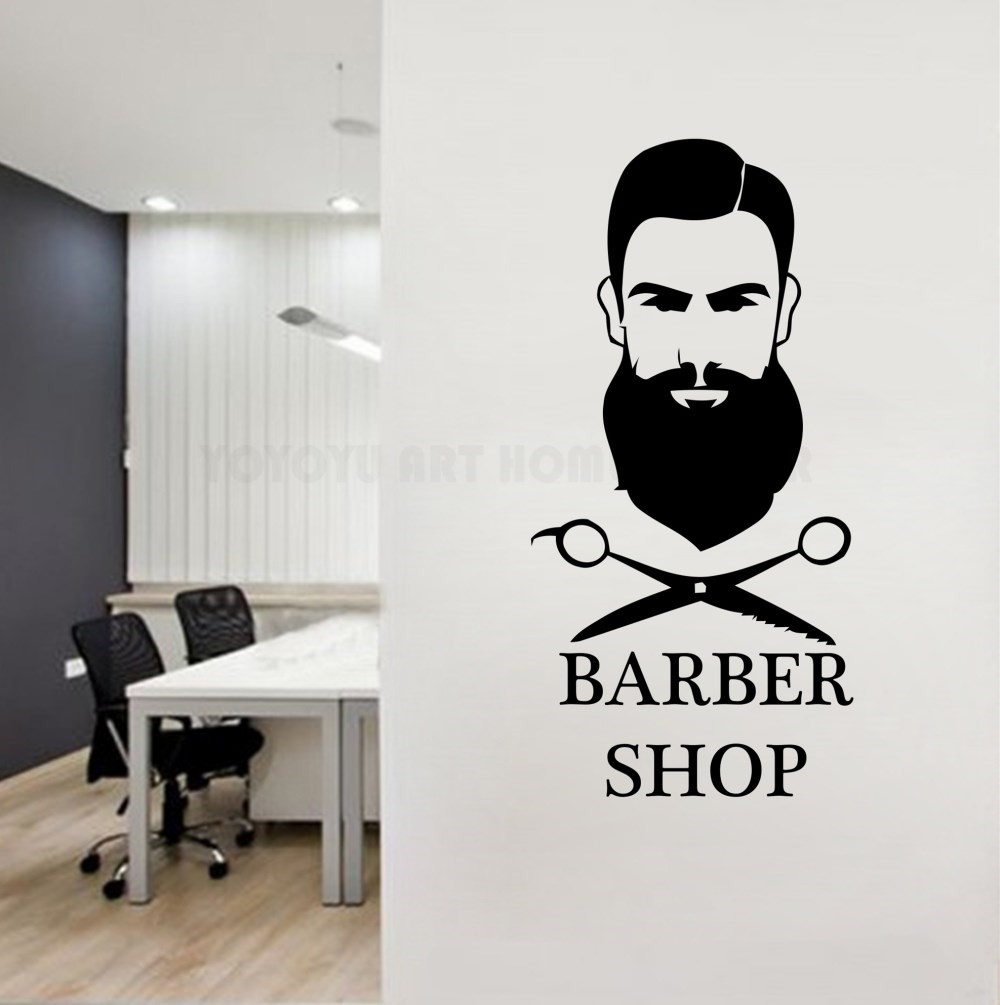 Removable barber shop wall decal man haircut salon window wall logo decor sticker vinyl beard face tools gentlemen salon y149 in wall stickers from home