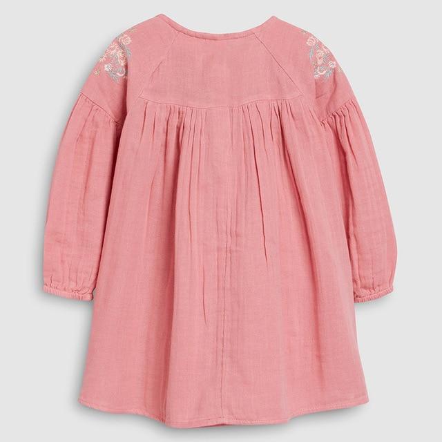 Little maven 2-7Years 2021 Autumn Bay Girls Child Toddler Flower Embroidery Pocket Dress Children Kids Tops Tees Fall clothing 2