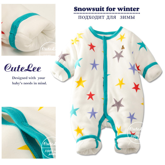 Inverno engrossar algodão enchimento de natal romper do bebê recém-nascido infantil boy girl next roupas unissex macacão de manga longa bebê onesie