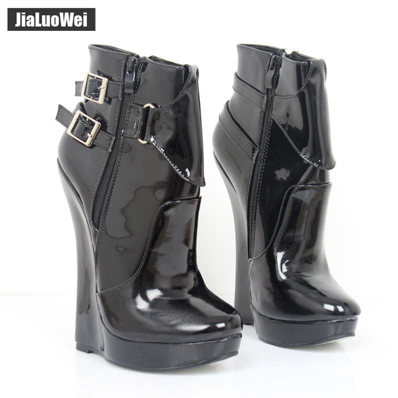 """Jialuowei Design Sexy Fetish 18cm/ 7"""" inch EXTREME High Heel Wedge Heeled Fashion Buckle Strap Ankle Boots giaroslick highheel"""